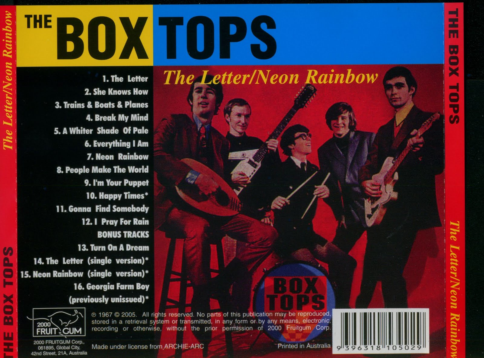 Music Archive The Box Tops The Letter Neon Rainbow 1967
