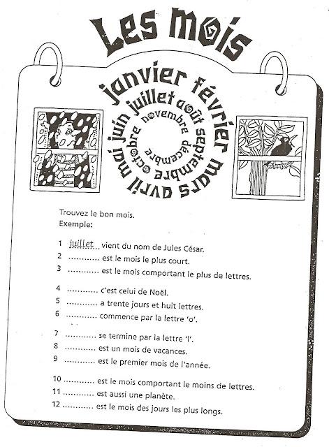 Miesiące - ćwiczenie 1 - Francuski przy kawie