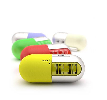 Pill shape bedroom alarm clock