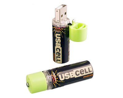 USB cell 1.2 V AA battery charged by usb port