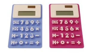 Blue and pink color solar powered calculators