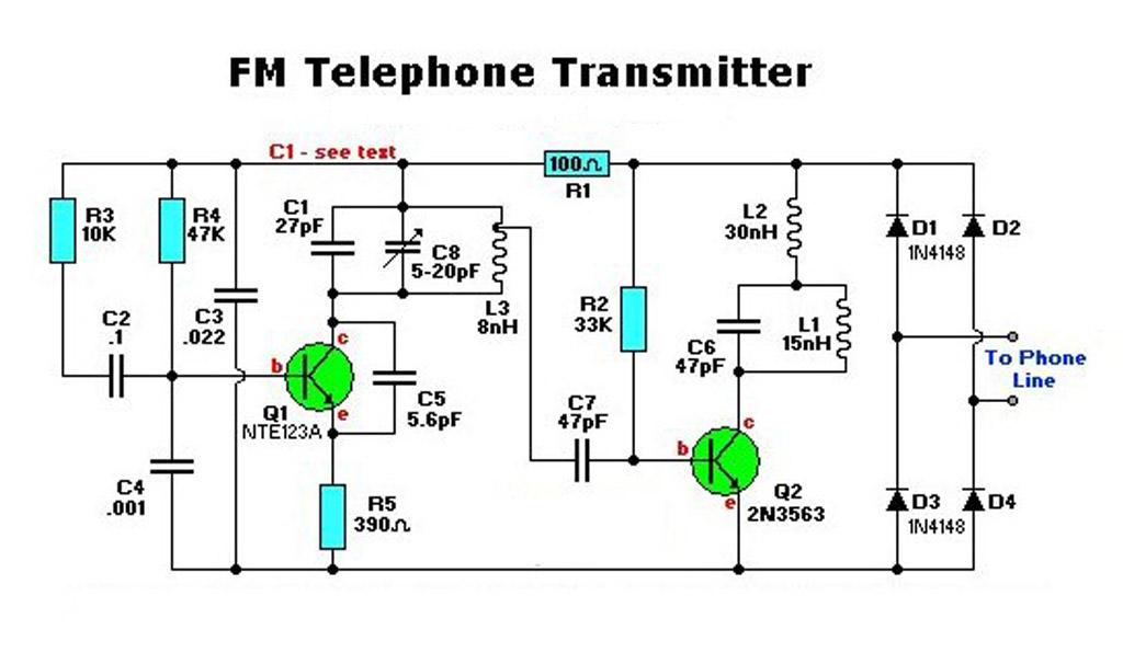 Electronic FM Telephone Transmitter Circuit  Electronic