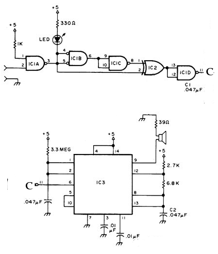 Audible Logic Probe Circuit Schematic