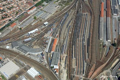 photo aérienne gare de triage de Bordeaux