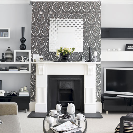 Walls wallpaper inspiration fireplace wall for Grey silver wallpaper living room