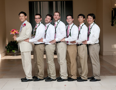 Awkward Groomsmen in suspenders and pink ties