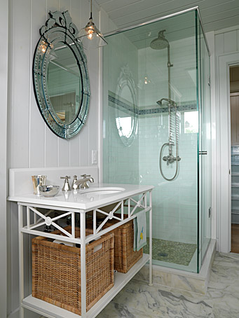 Glass shower surround and vanity with Venetian mirror above