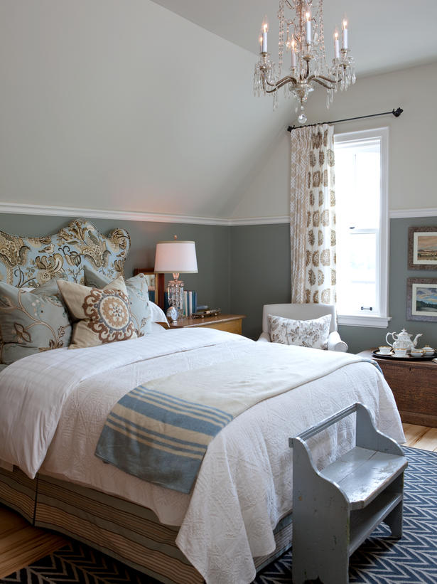 Beautiful slate blue modern country bedroom by Sarah Richardson on Hello Lovely