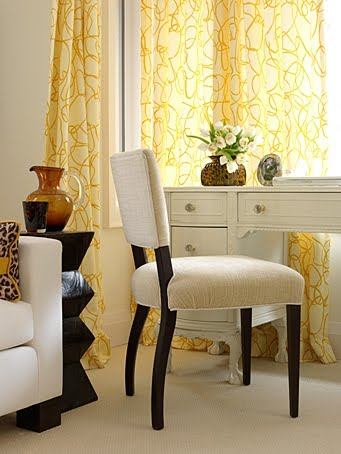 Neutral decor in office by Sarah Richardson with yellow accents