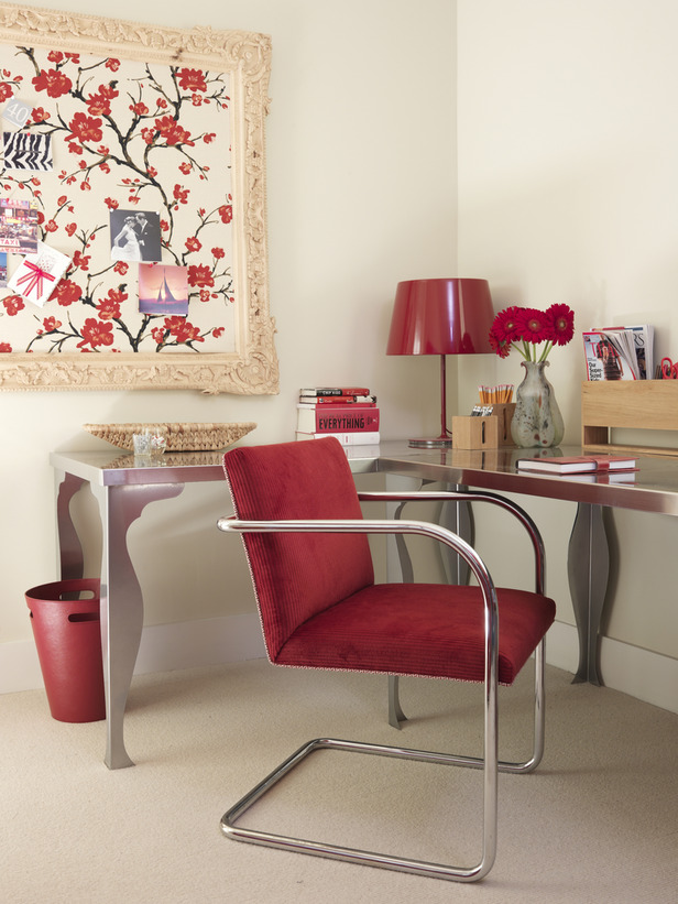 Midcentury modern style office with red by Sarah Richardson