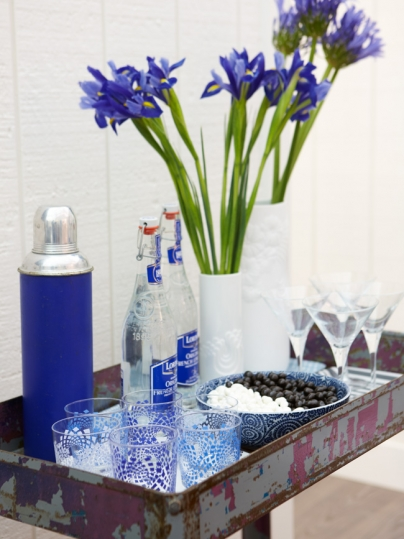 Rustic chic tray and bright purple blue in modern farmhouse design by Sarah Richardson