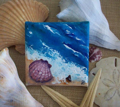 From A Series Of 3 X3 Mini Paintings Shells At The Beach This Shows Calico Scallop Shell And Shark Tooth Waters Edge Tiny Canvas Is