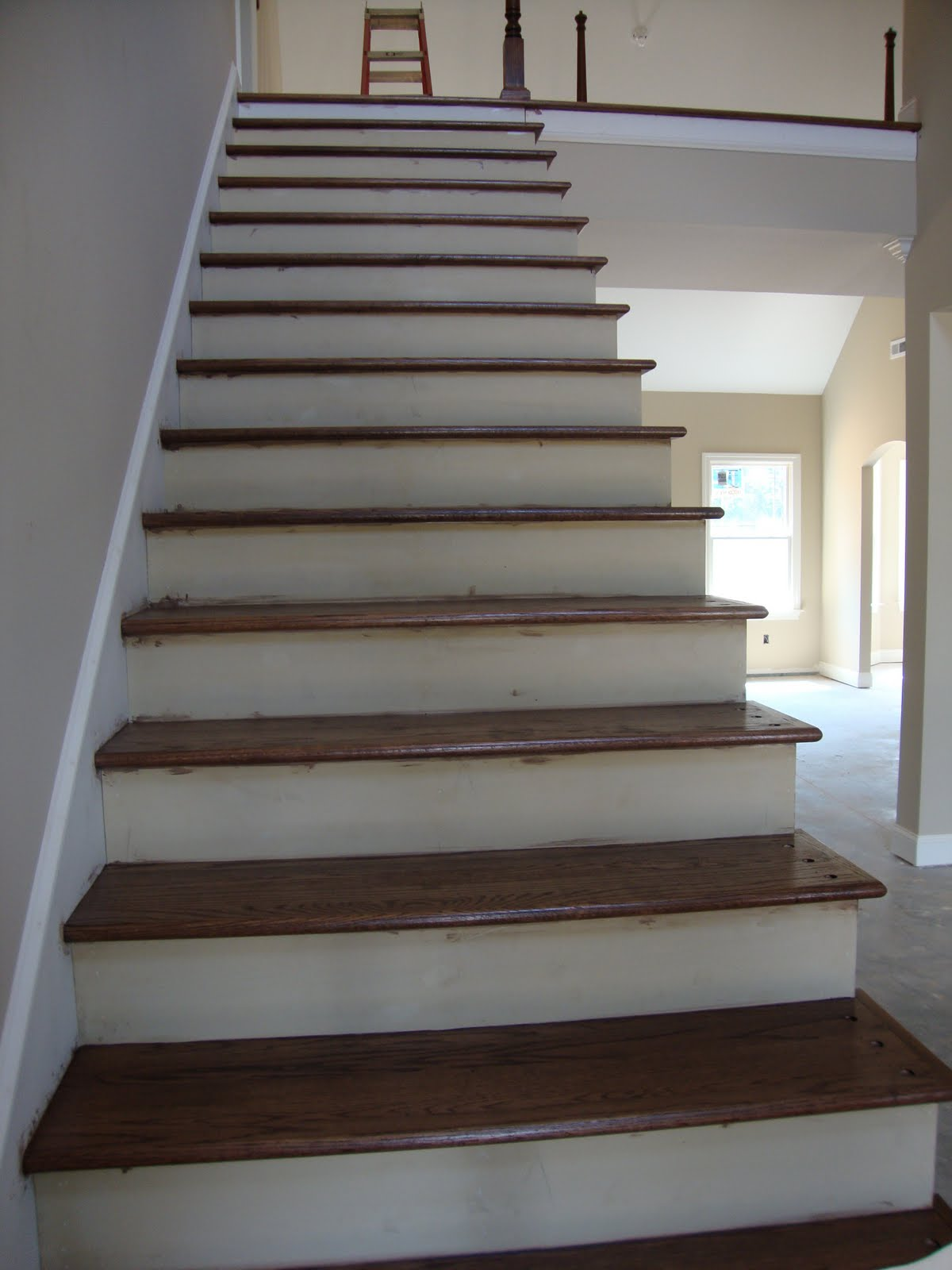 Home building project cedar columns lighting and - Interior stair treads and risers ...