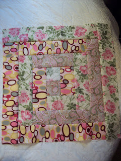 I love me some PINK Fabric making a log cabin quilt block,free pattern