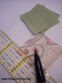 marking lines to hand make a quilt