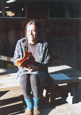 Gaelyn holding Lobster mushroom at Eagles Cliff Gifford Pinchot National Forest Washington