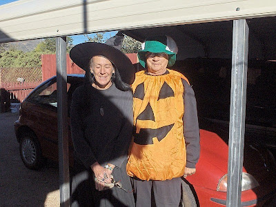 Gaelyn and Darlene dressed for Halloween Yarnell Arizona