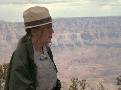 Ranger Gaelyn at Walhalla overlook North Rim Grand Canyon National Park Arizona