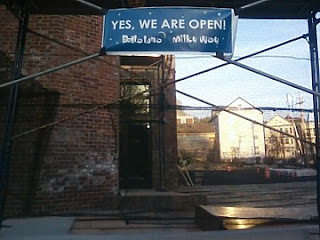 Temporary sign for Bella Luna and Milky Way Lounge, Jamaica Plain