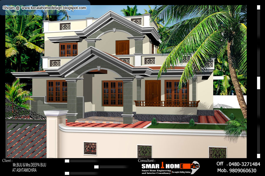 Kerala home plan and elevation 1500 sq ft kerala for Kerala 3d home floor plans