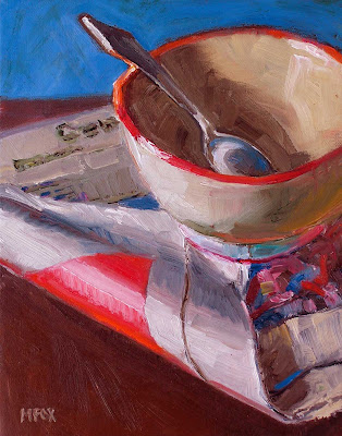 Cereal Bowl, Sterliing Silver Spoon & Newspaper: small painting still life kitchen art, home decor Marie Fox