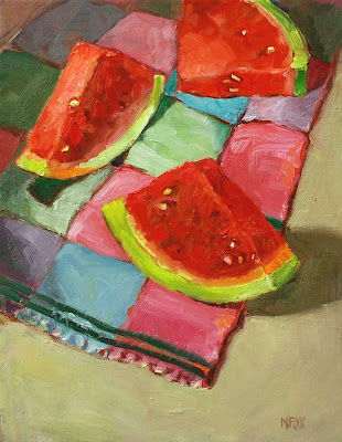 Watermelon Slices Oil Painting: fruit, 11 x 14 still life, vintage towel red and green Marie Fox