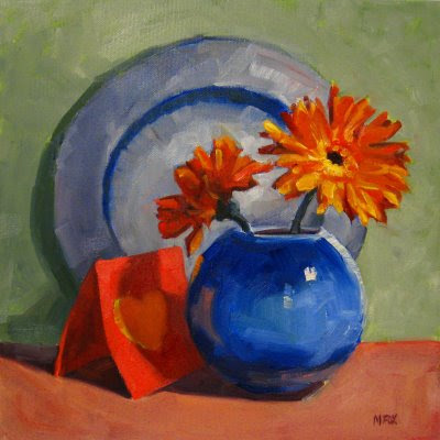 Valentine Flowers: Square oil painting still life of Gerber daisies, heat, blue glass vase, colorful orange & blue