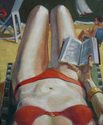 woman at beach in bikini oil painting Marie Fox
