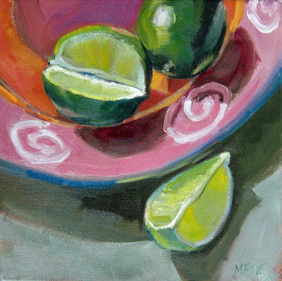 daily painter Marie Fox still life of limes and pink plate
