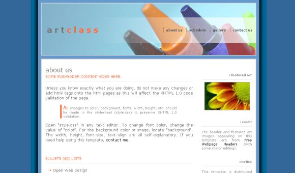 Art School Blue HTML Free Website Template