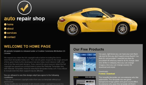 Free Autos Cars Black Yellow CSS Template