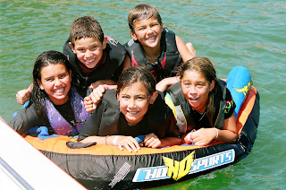 Kids getting ready for tubing, wakeboarding and jet skiing summer camp activities at Aloha Beach Camp in Los Angeles.