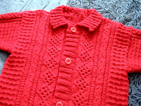 Red Stephane cardigan, detail