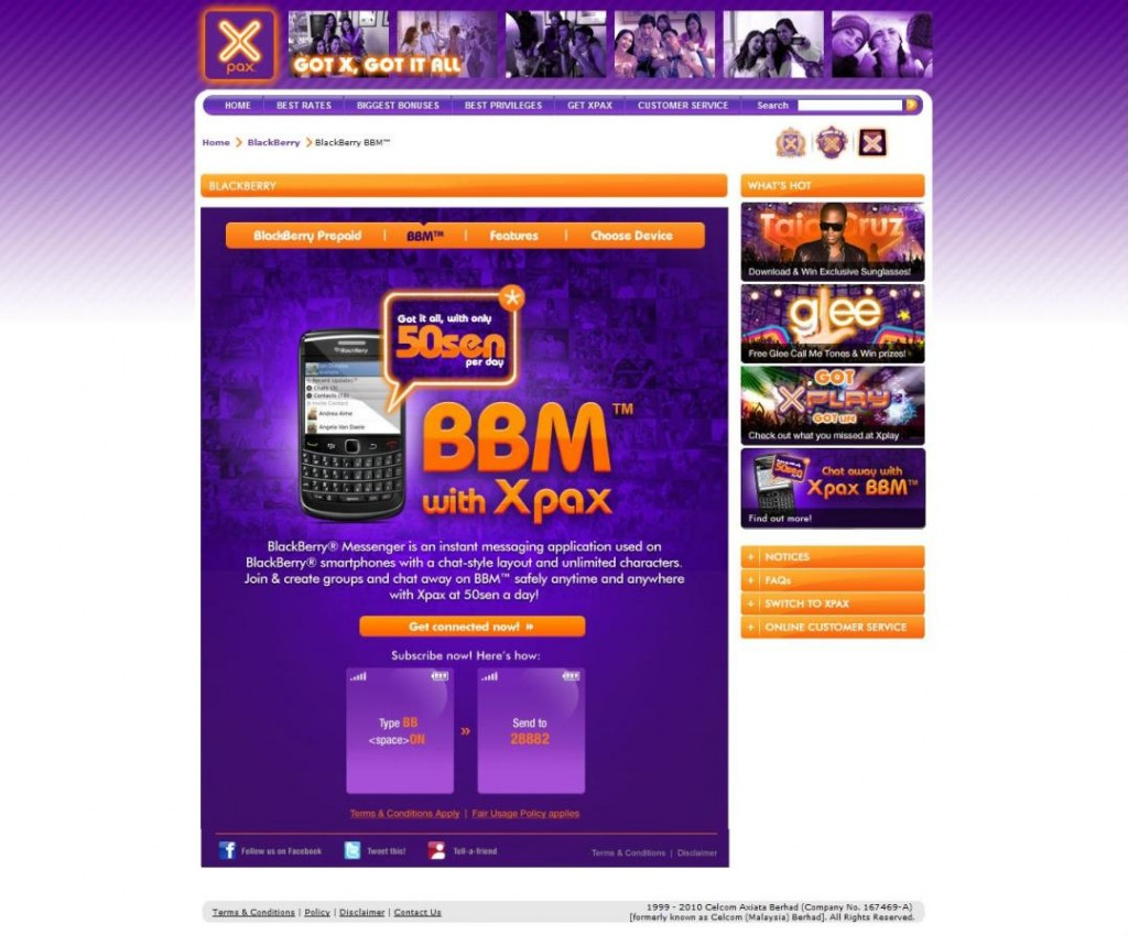 If you already have a Blackberry and want to subscribe to Xpax BBM,