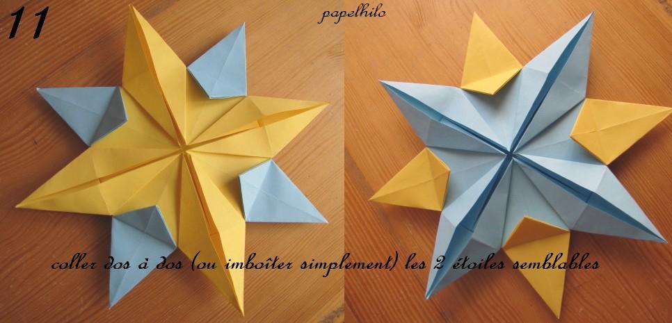 Papelhilo les cr ations de l 39 araign e tuto de l 39 toile de no l en origami - Origami etoile de noel ...
