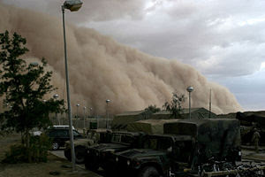 A huge cloud of dust rolls towards the photographer in this image of a dust storm in Iraq