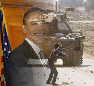 Obama overlaid with a picture of a boy throwing  a stone against a tank in Israel