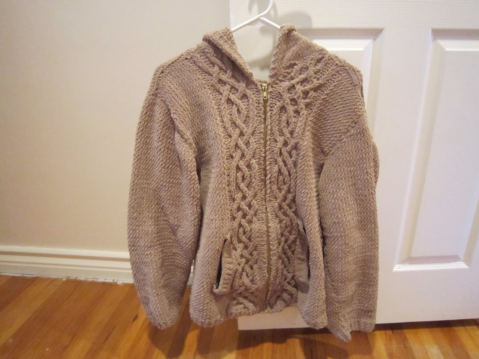 In My Pajamas: Knitted Jacket with Celtic Cable Pattern
