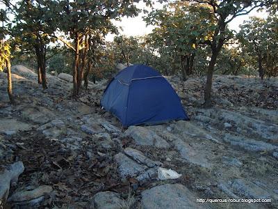 Casa de campaña en el Cerro Jacal de Piedra