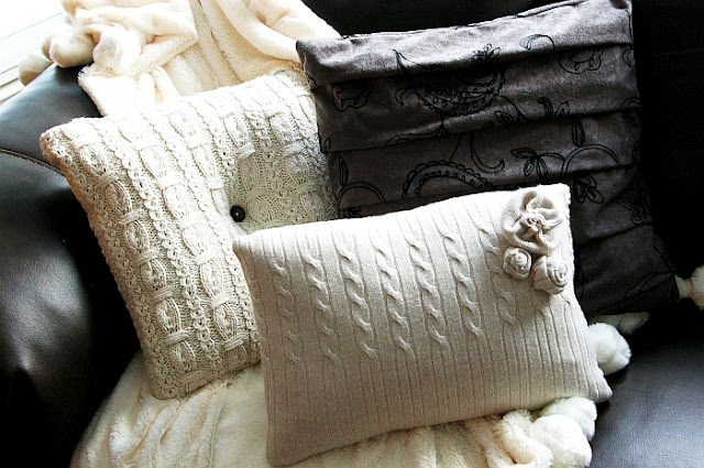DIY Sweater pillows  cozy up!