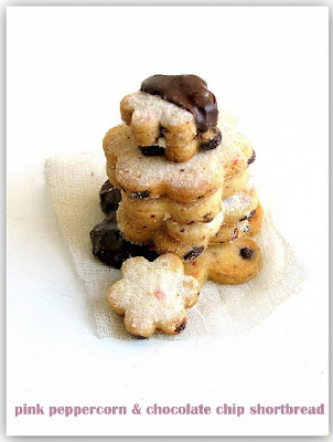 Pink Chocolate Chip Shortbread Cookies Recipe — Dishmaps