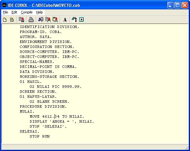 Contoh program file sequential pada cobol