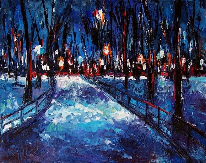 Debra Hurd Original Paintings And Jazz Art Winter Night