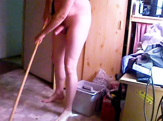Naked men cleaning house are absolutely