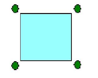 Afegint quatre triangles equilàters,la hipotenusa dels quals sigui la base que correspon a un costat del quadrat