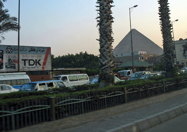 Cairo city and pyramid