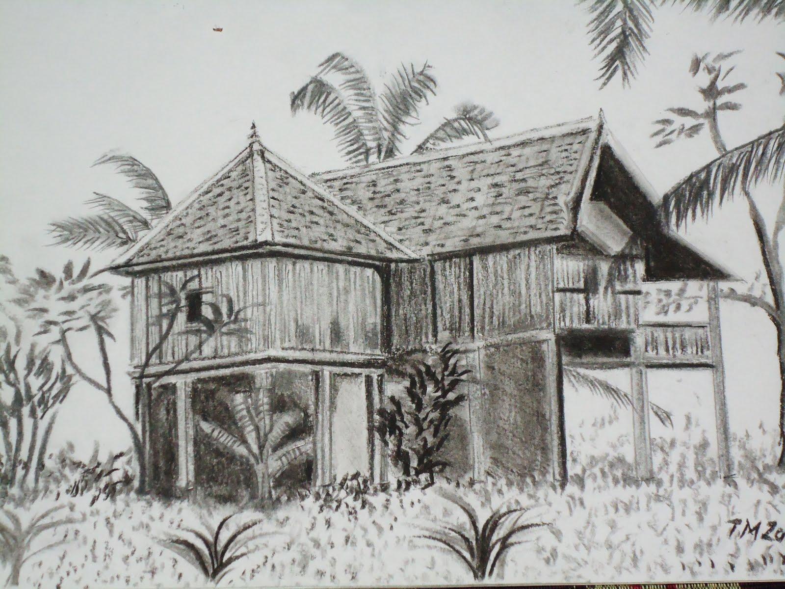Gambar Pemandangan Hitam Putih Pensil
