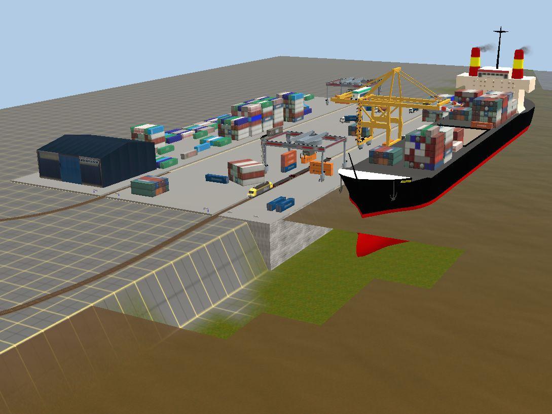 Trainz: Port station for containers - Quay - Cranes