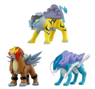 Pokemon Soft Vinyl Figure Raikou Entei Suicune Tomy
