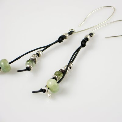 Leather Earrings with Aquamarine, Prehnite, Quartz and Thai Silver